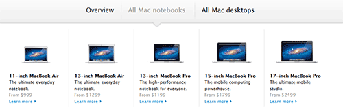 Apple's laptop comparison chart. Even if they sold 13 different types like Lenovo, Apple's website would still be nicer.