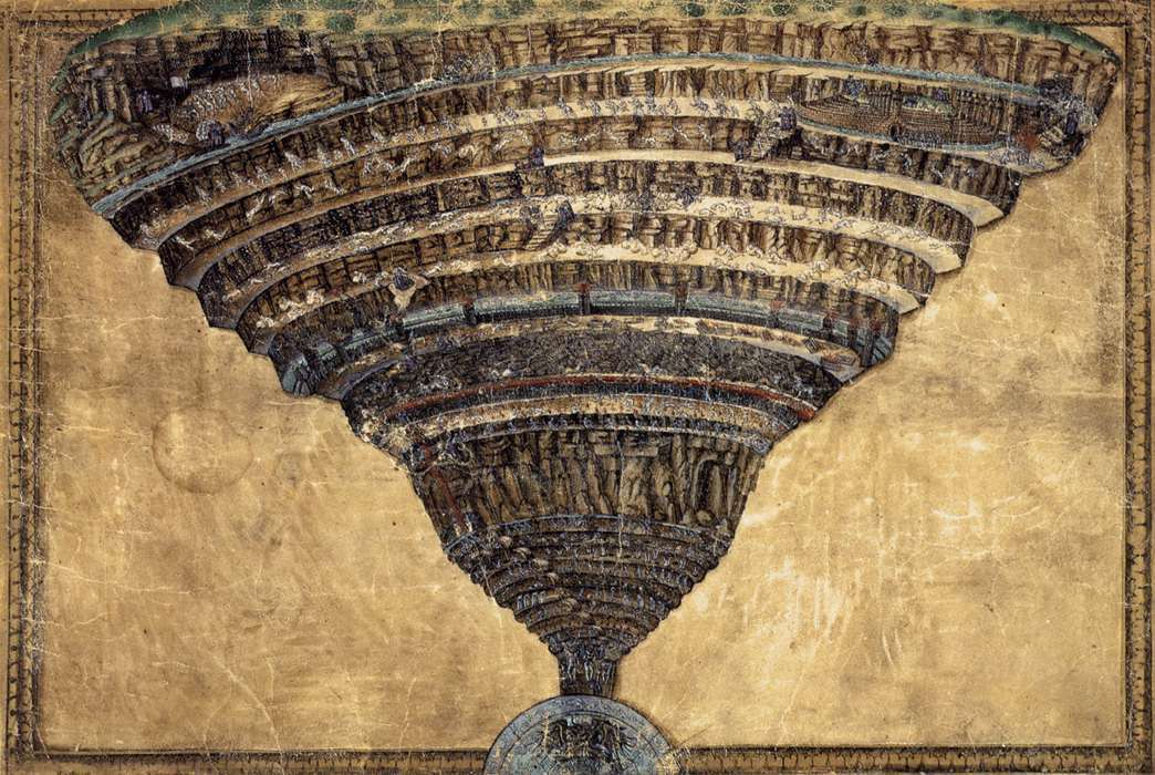 The Mappa dell'Inferno (Map of Hell) by Botticelli, regularly called The Abyss of Hell or La voragine dell'Inferno. The Map of Hell parchment shows the geography of hell in the classical funnel section, which was used in later iconography. The parchment was painted by Botticelli between 1480 and 1490, with the technique of the silver tip.