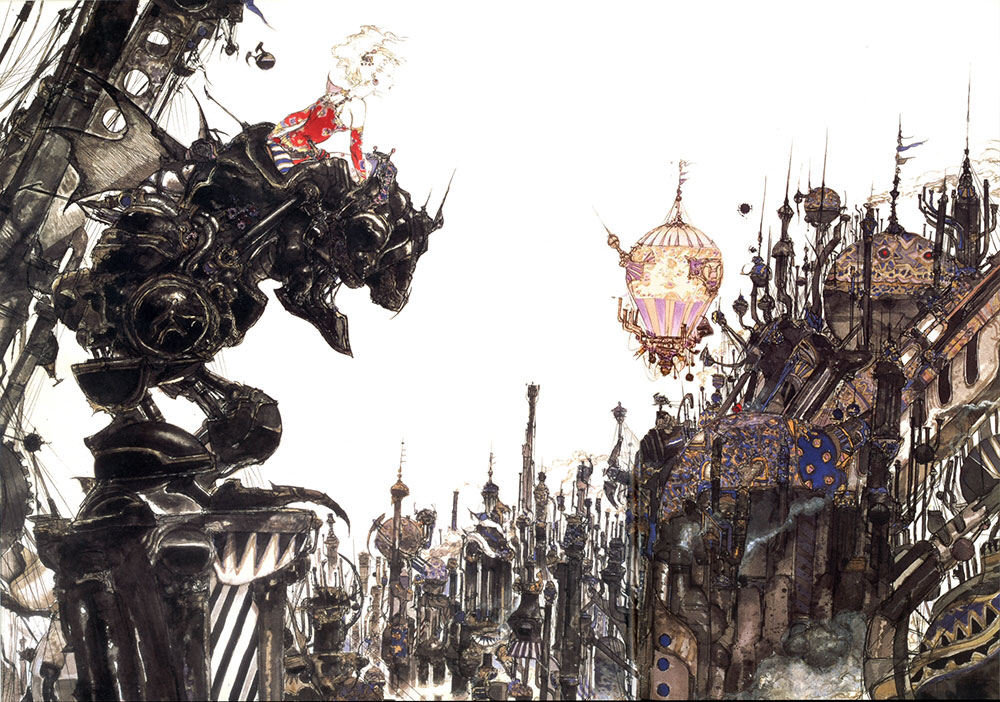 Final Fantasy VI cover art, Terra leans over her Magitek armor, overseeing the city below.