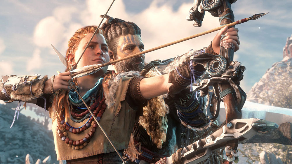 Aloy and Rost drawing a bow