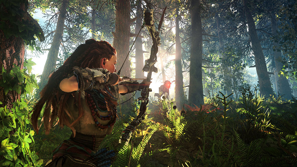 Aloy in a lush forest, aiming a bow at a robot dinosaur