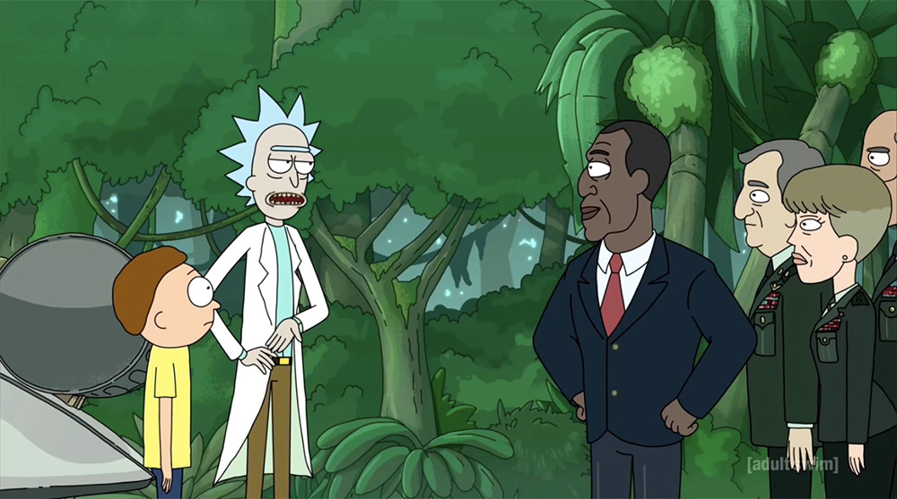 Rick and Morty talking to the President of the United States and some military officers in a jungle.
