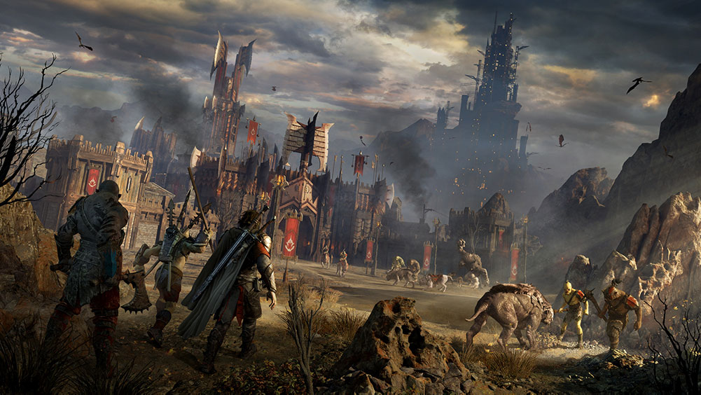 Talion walks through a ruined field with orcs wandering about and a castle in the distance.