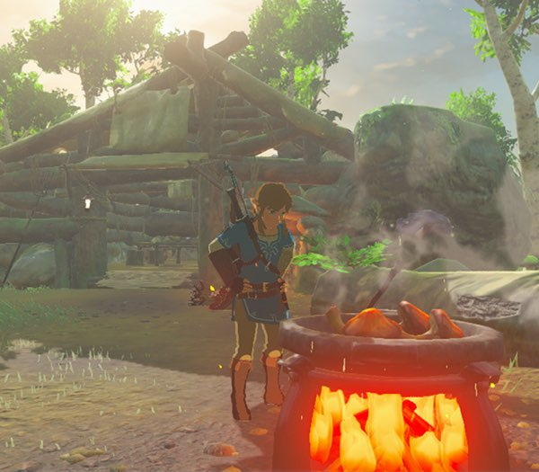 Link looking at a cookpot on top of a campfire, with a cabin in the background