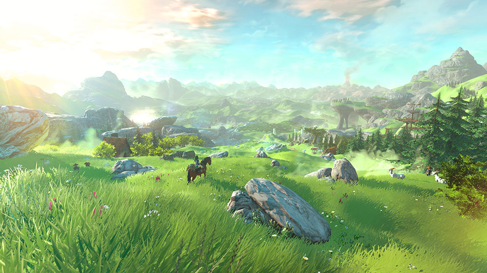 Link on a brown horse, overlooking a green valley