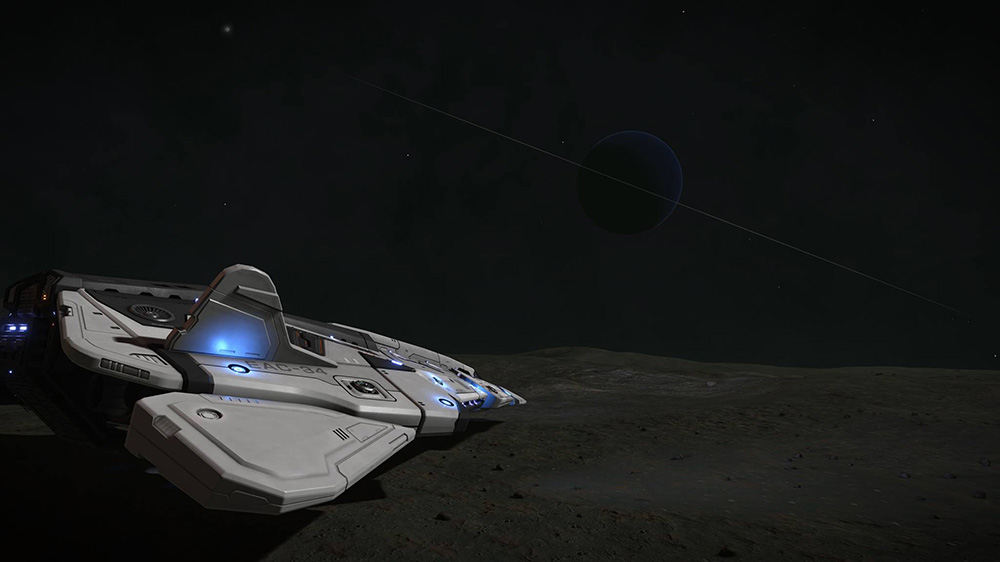 A white spaceship on a grey planet, overlooking a dark blue planet with a thin ring system