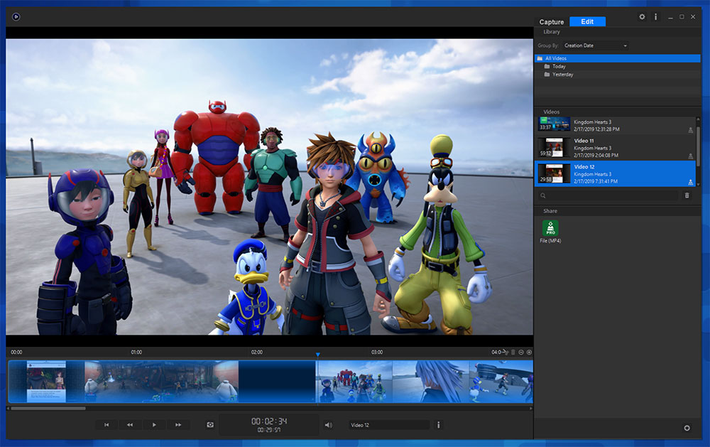 The elGato Game Capture app showing a screenshot from Kingdom Hearts 3, in the San Fransokyo world