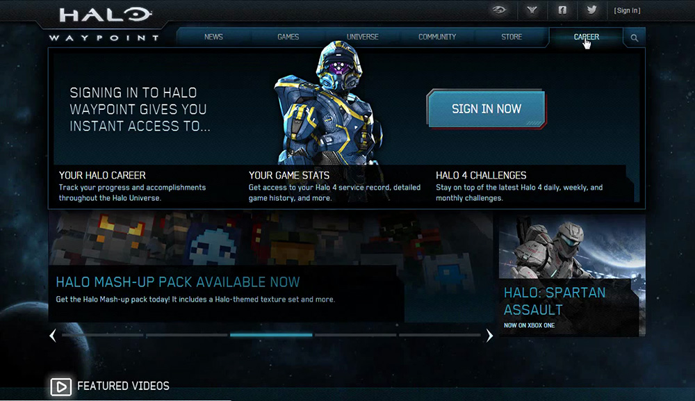Halo Waypoint for the Halo 4 release, showing a Spartan soldier in the Career dropdown menu