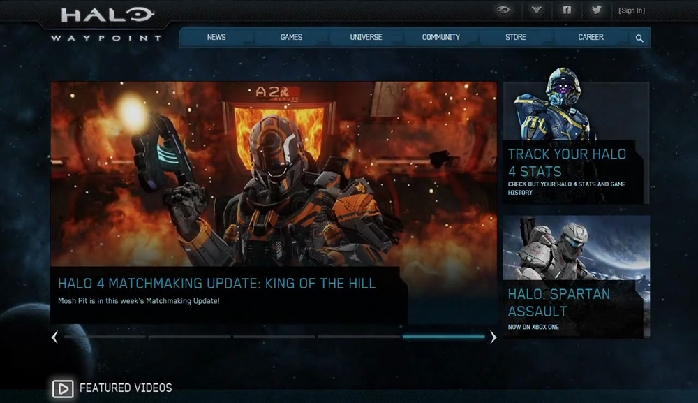Home page of the Halo Waypoint website for the Halo 4 release