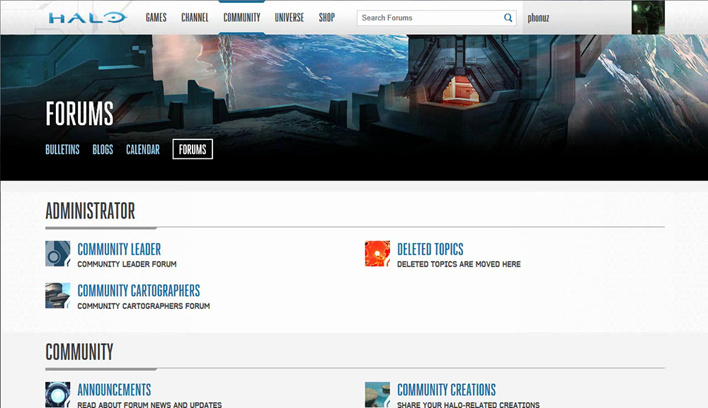 Forums listing of the Halo Waypoint website for the Halo 5 release