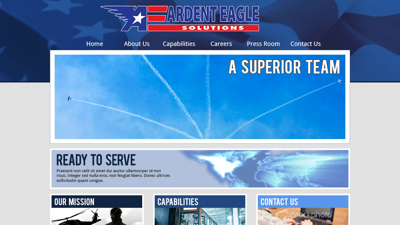 Website concept for Ardent Eagle Solutions