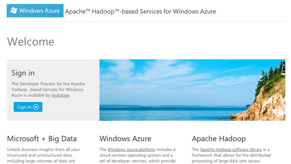 Website concept for the Hadoop on Azure team