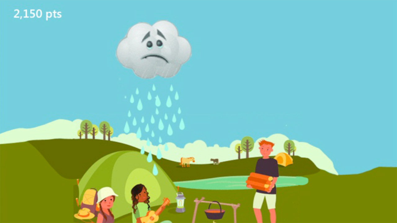 Game concept screenshot of a sad raincloud raining on people having a picnic in a park